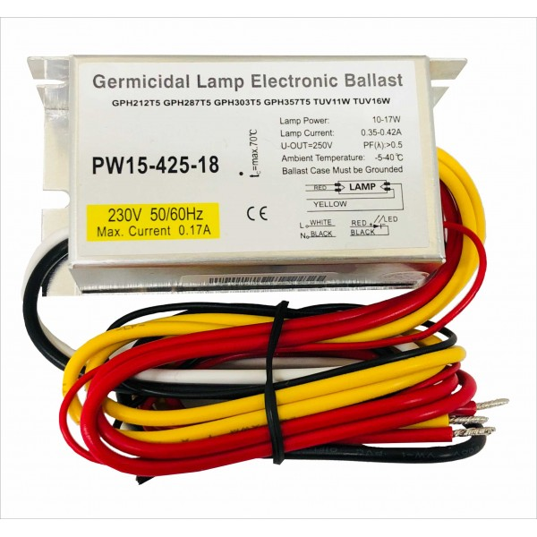 Reator Eletronico para lâmpada UVC 10W-17W 230V